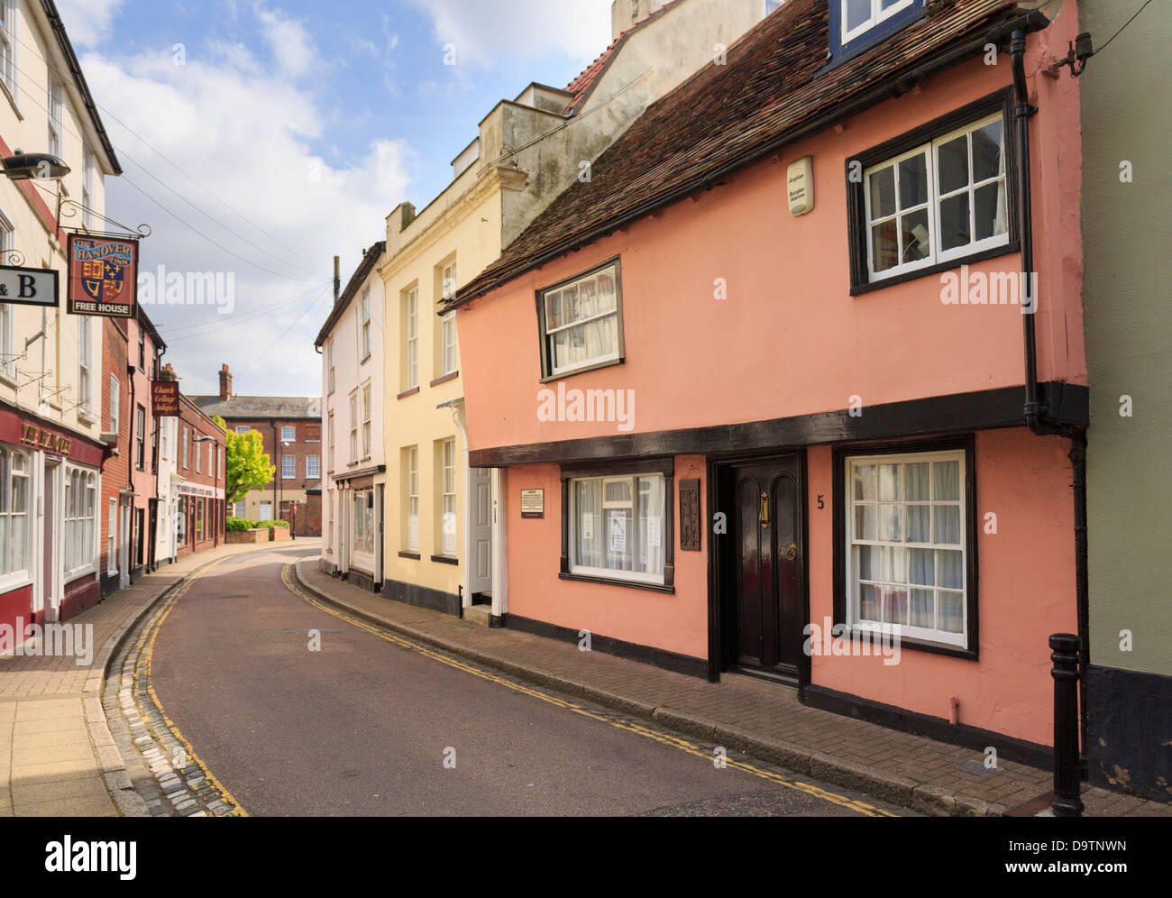 15th century Foresters circa 1450 is said to be oldest house in the town. Church Street, Harwich, Essex, England, - Stock Image