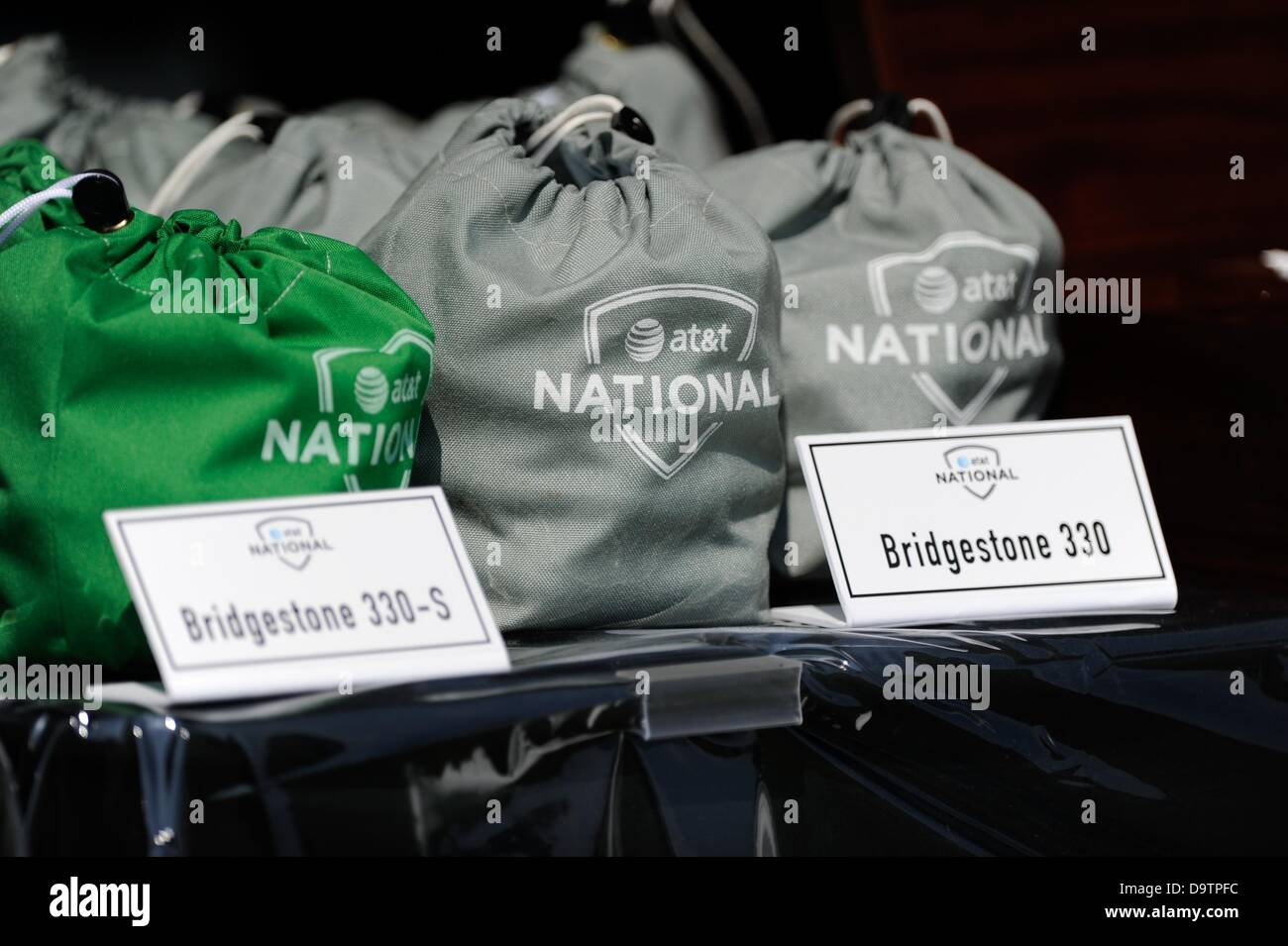 June 26, 2013 - Bridgestone ball bags await players during Pro-Am play at Congressional Country Club in Bethesda - Stock Image