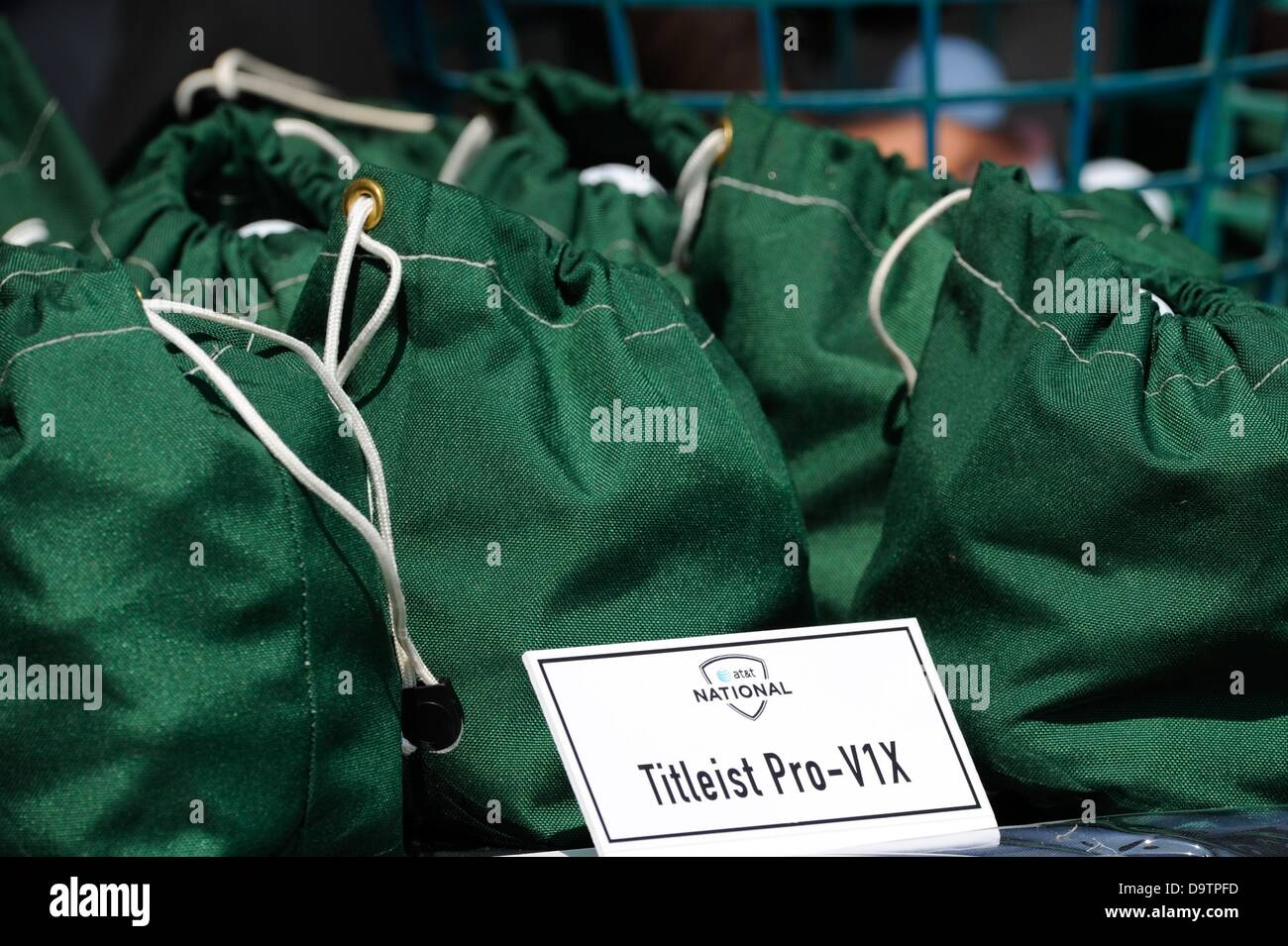June 26, 2013 - Ttileist Pro-V1X ball bags await players during Pro-Am play at Congressional Country Club in Bethesda - Stock Image