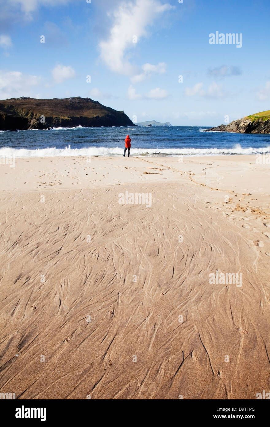 A woman standing on clogher beach in dingle;County kerry ireland Stock Photo