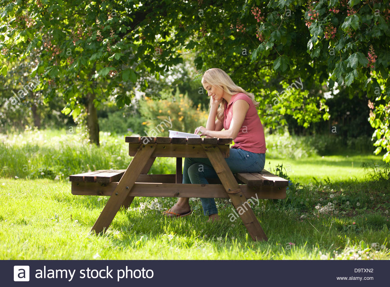 A young woman sitting on a garden bench reading a book - Stock Image