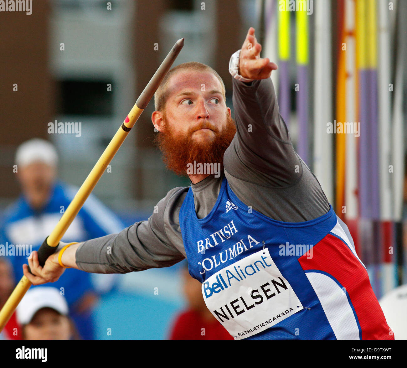 Javelin thrower Kyle Nielsen shows his winning form at the Canadian Track & Field Championships June 22, 2013, - Stock Image