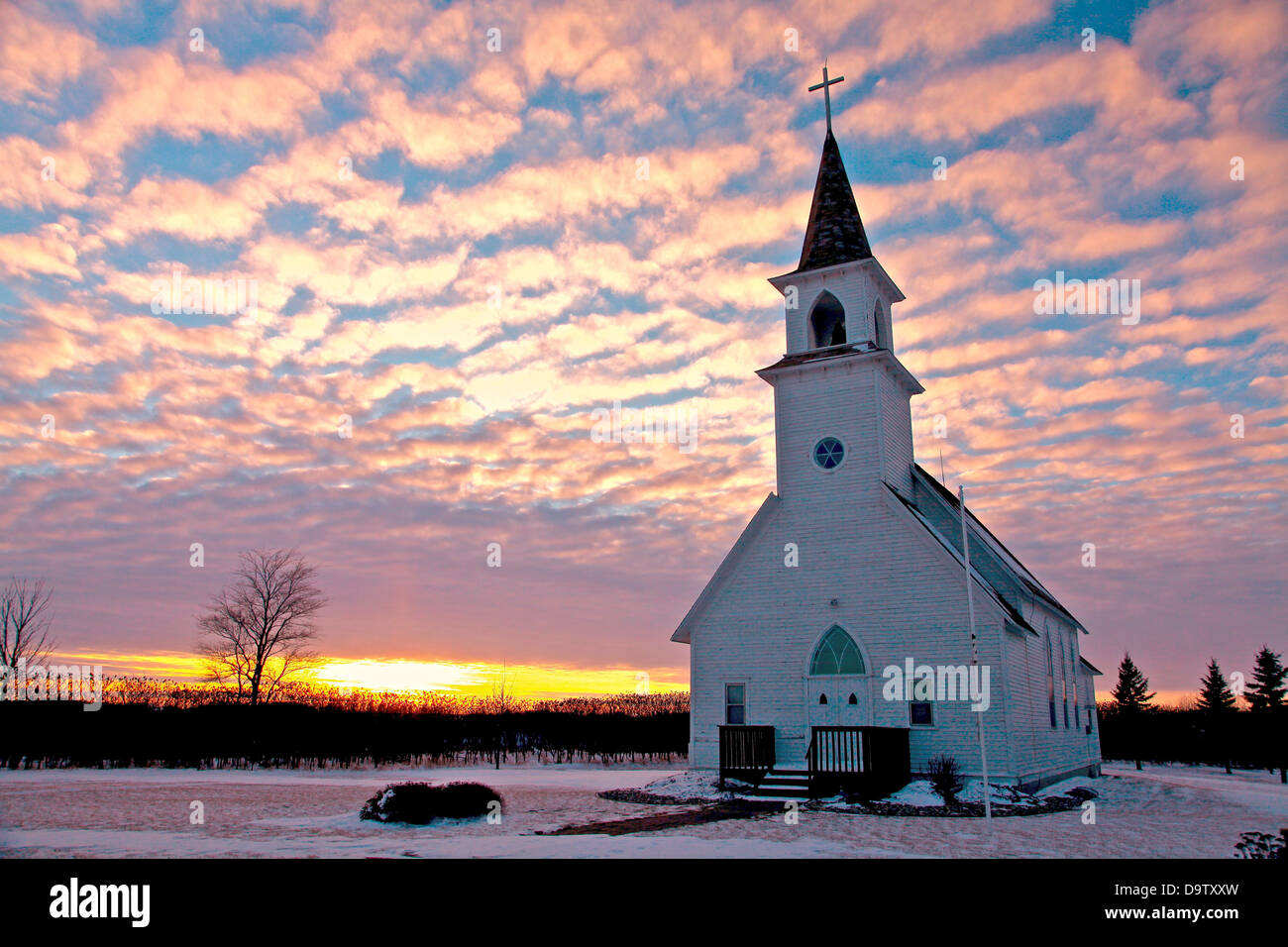 USA Minnesota Winter Sunset Over Country Church