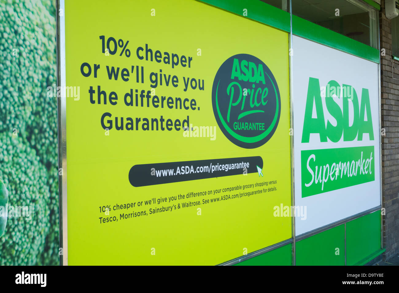 Price Guarantee Sign Outside Asda Store In England, UK   Stock Image