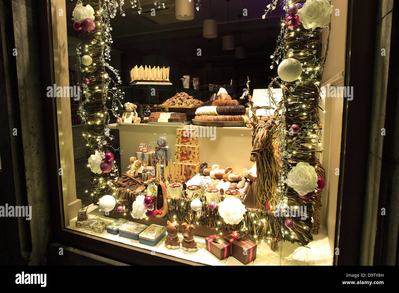 Christmas Window Displays.Belgium Chocolate Shop Window Display At Christmas Time