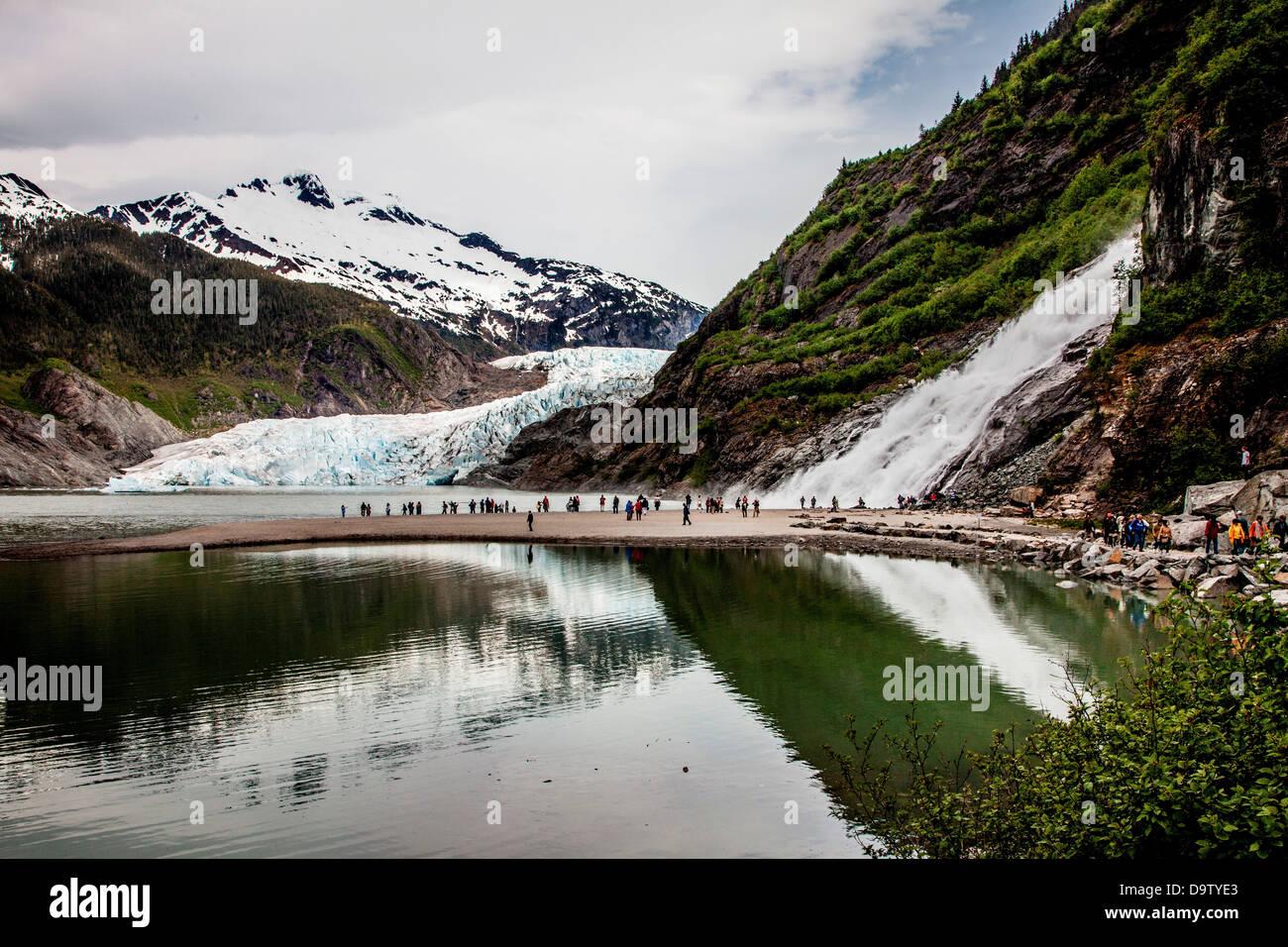 USA, Alaska, Juneau, Gold Creek Falls at Mendenhall Glacier - Stock Image