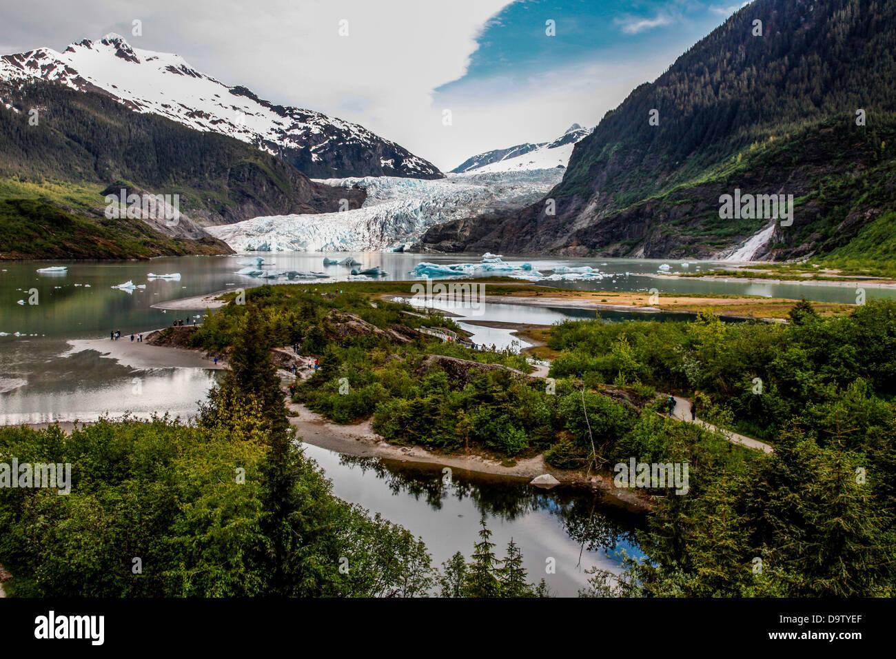 USA, Alaska, Mendenhall Glacier and Mendenhall Lake - Stock Image