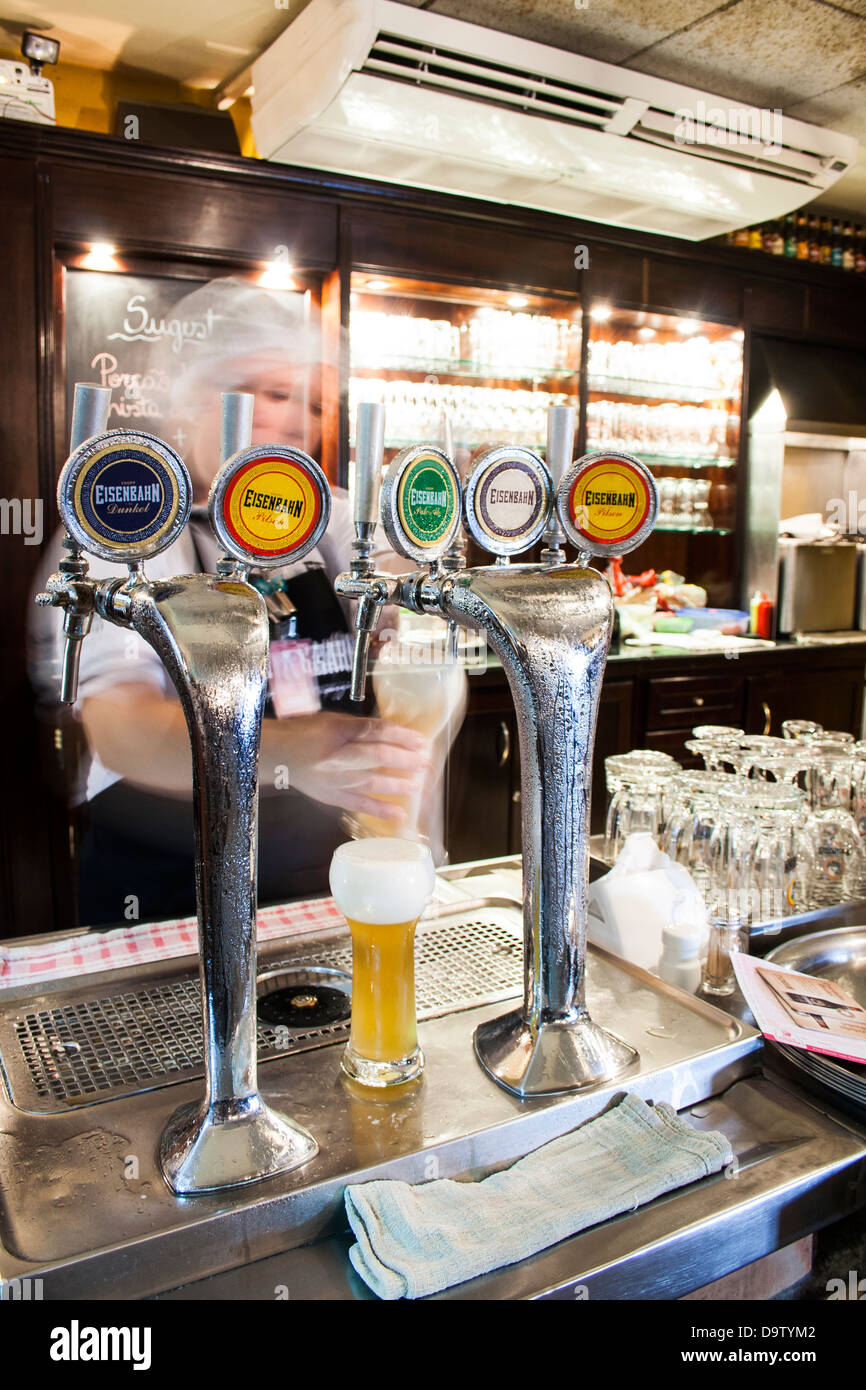 Bar at Eisenbahn Brewery, in Blumenau, a city colonized by German immigrants in southern Brazil. - Stock Image