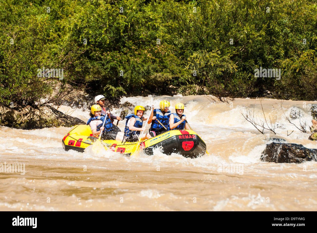 Rafting at Itajai Acu River, in southern Brazil. - Stock Image