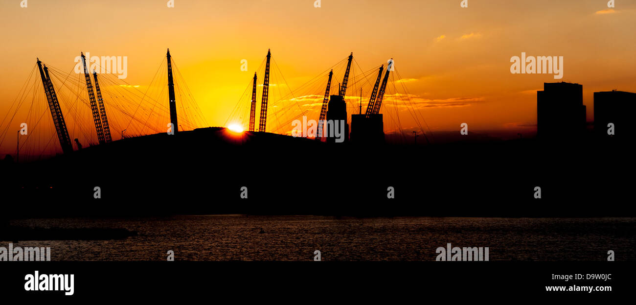 Sunset over the O2 Arena Stock Photo