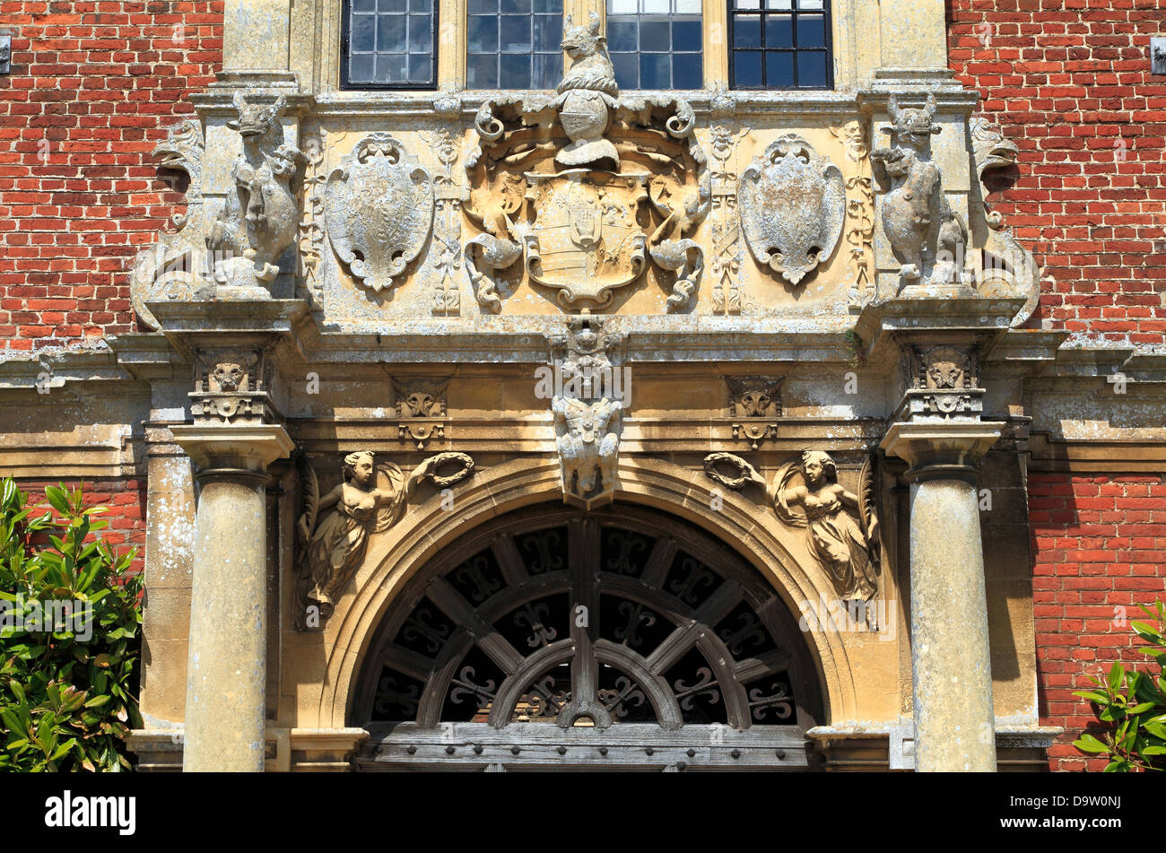 Blickling Hall, Norfolk, detail of heraldry above south entrance, England UK - Stock Image