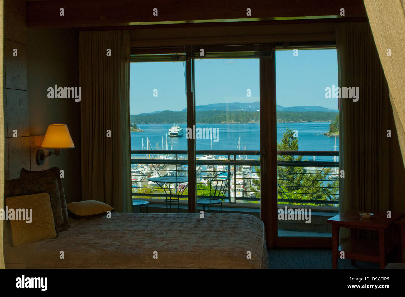 View of Friday Harbor, San Juan Island,Washington from room at the Friday Harbor House, - Stock Image