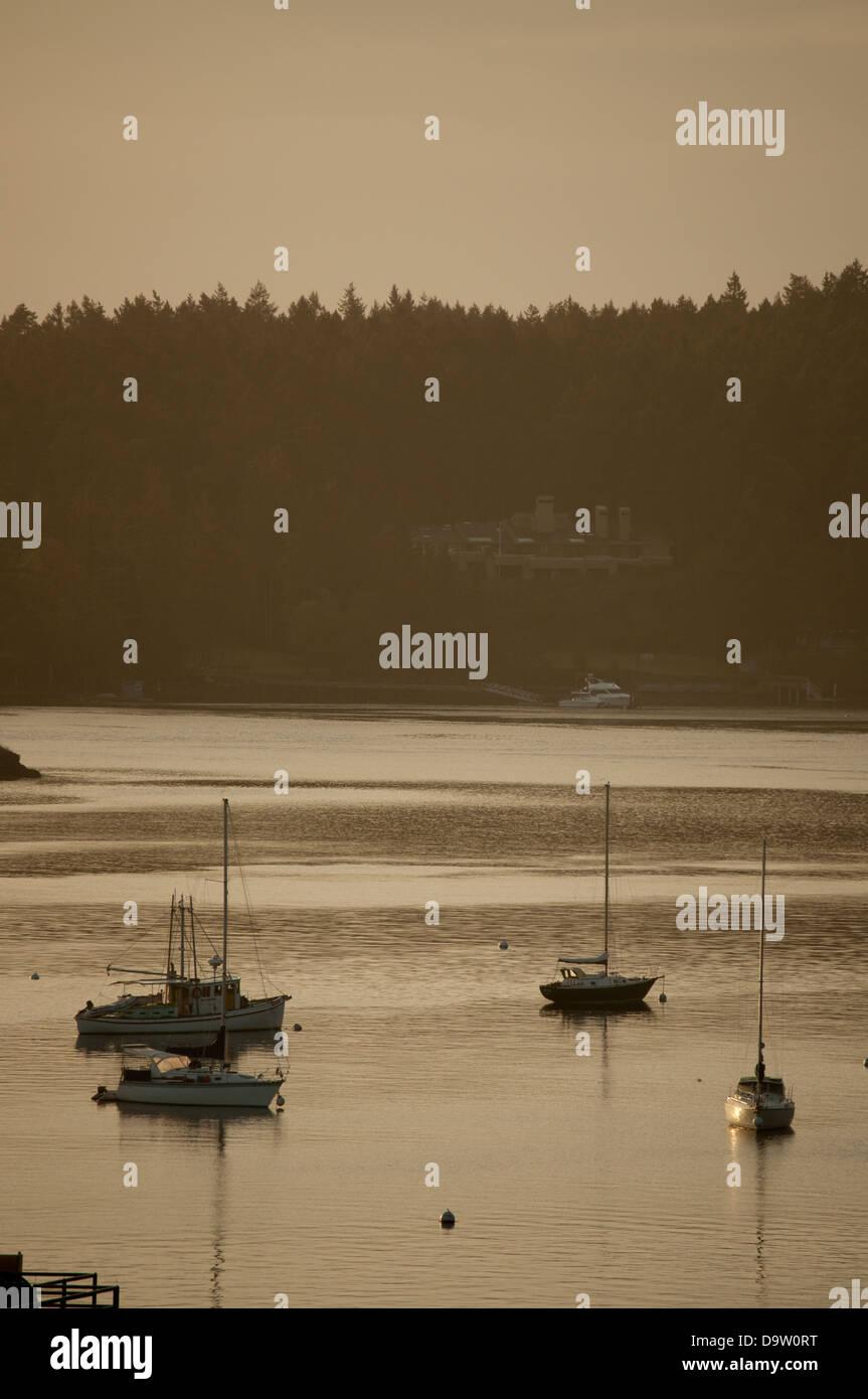 Boats moored at Friday Harbor,San Juan Island,Washington. - Stock Image
