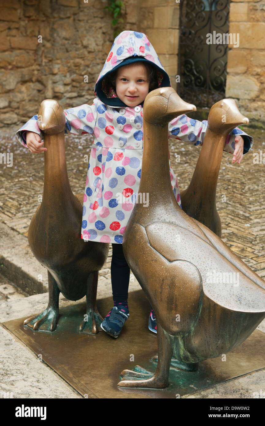Sculpture of Three Geese by Francois-Xavier Lalanne, Sarlat-de-Caneda, Dordogne FRANCE - Stock Image