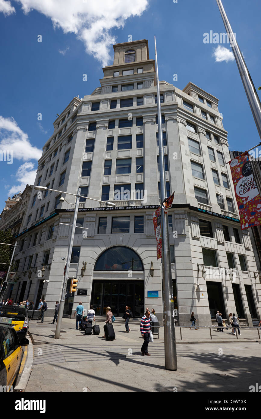 movistar mobile world capital building barcelona catalonia spain - Stock Image