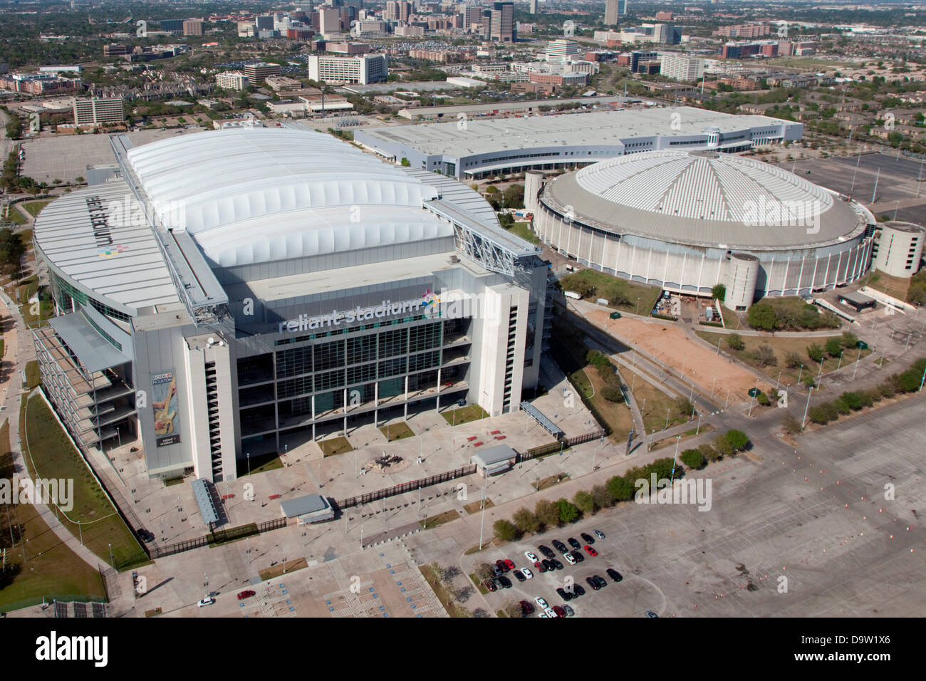 Aerial Of Reliant Stadium And Reliant Astrodome At Reliant