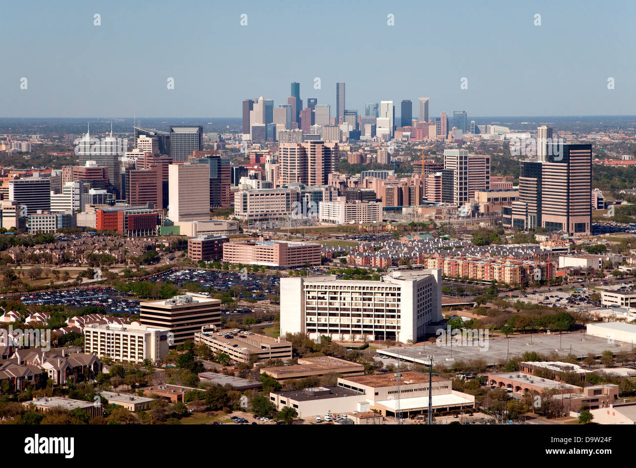 Aerial of the Texas Medical Center district with Downtown ...