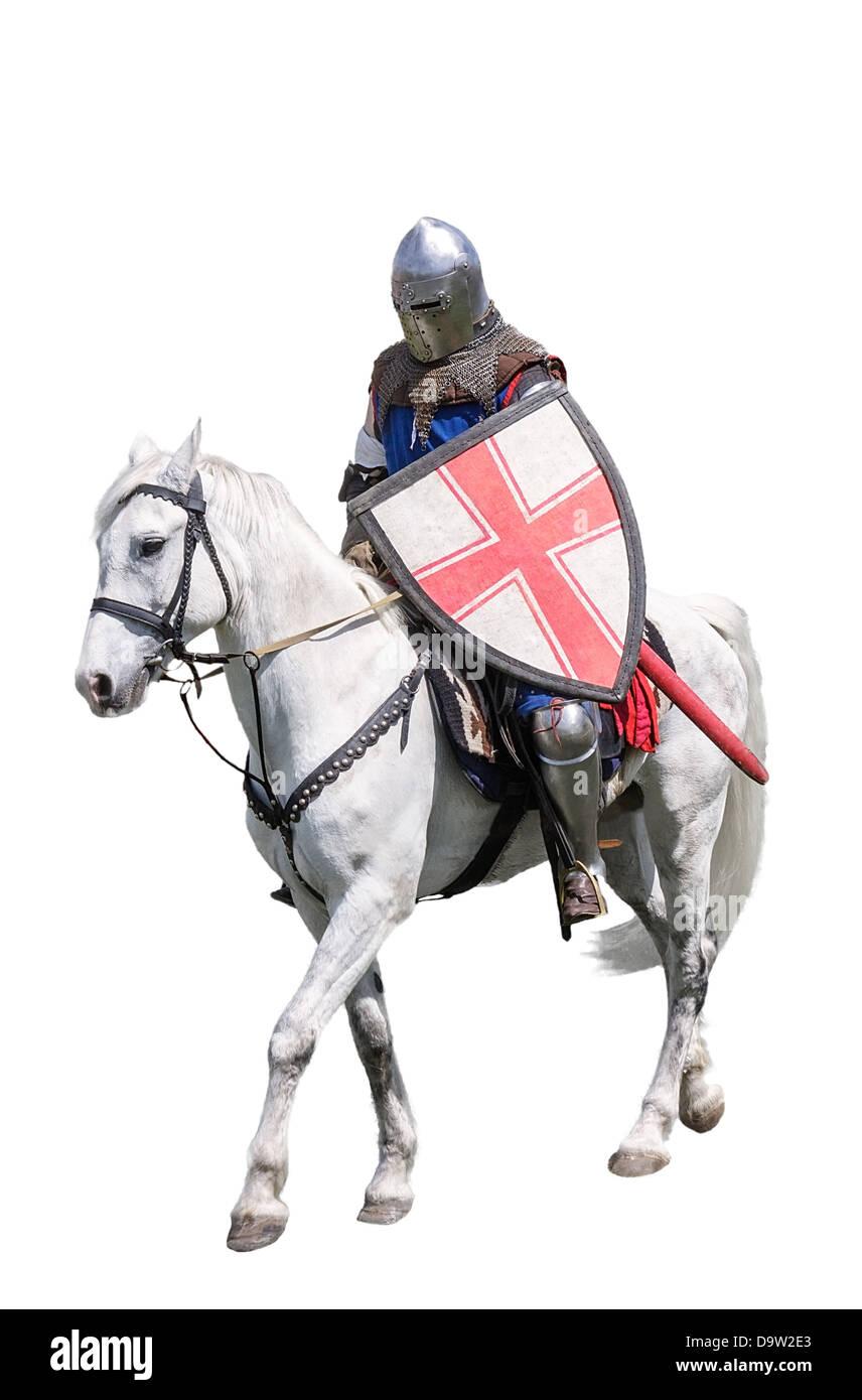 Armoured knight on white warhorse isolated on white - Stock Image