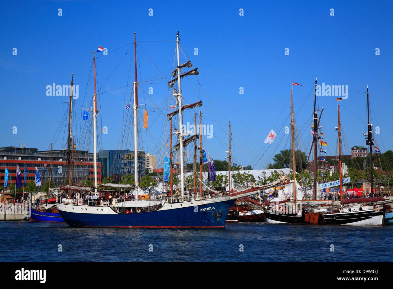 Sailing ships at Kiel harbor, Schleswig-Holstein, Germany, Europe - Stock Image