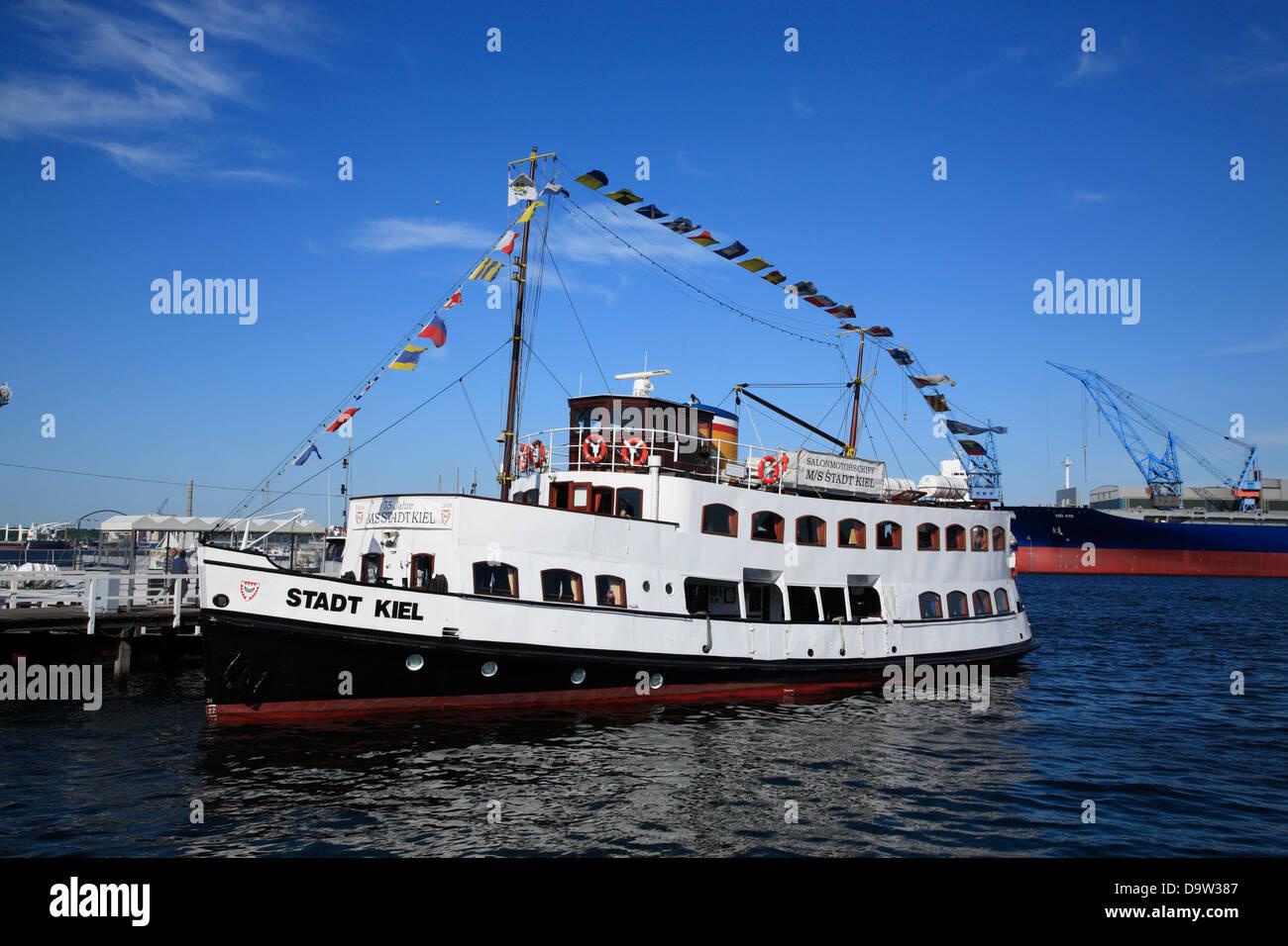 Ferry at Kiel harbor, Schleswig-Holstein, Germany, Europe - Stock Image