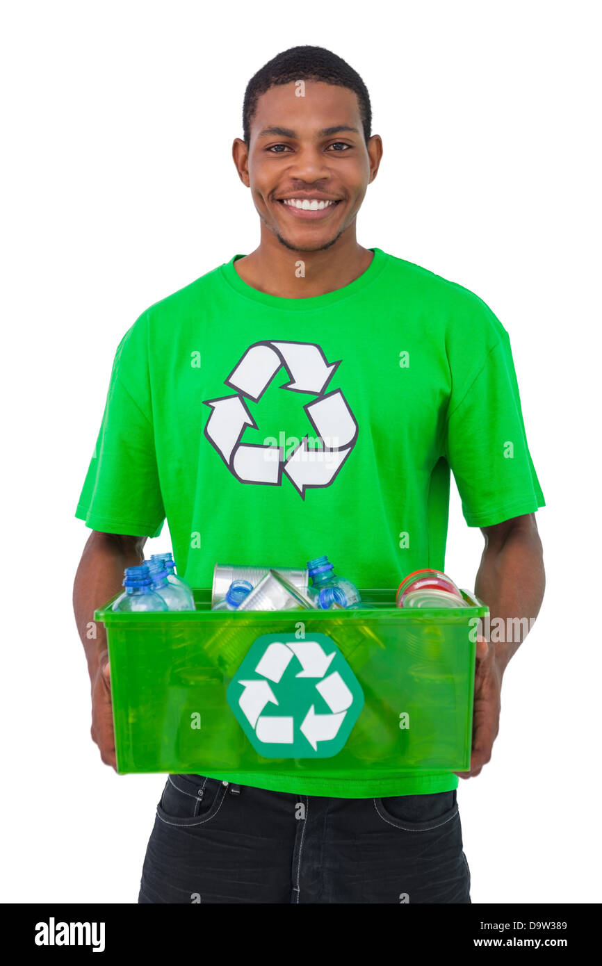 Man holding box of recyclables - Stock Image
