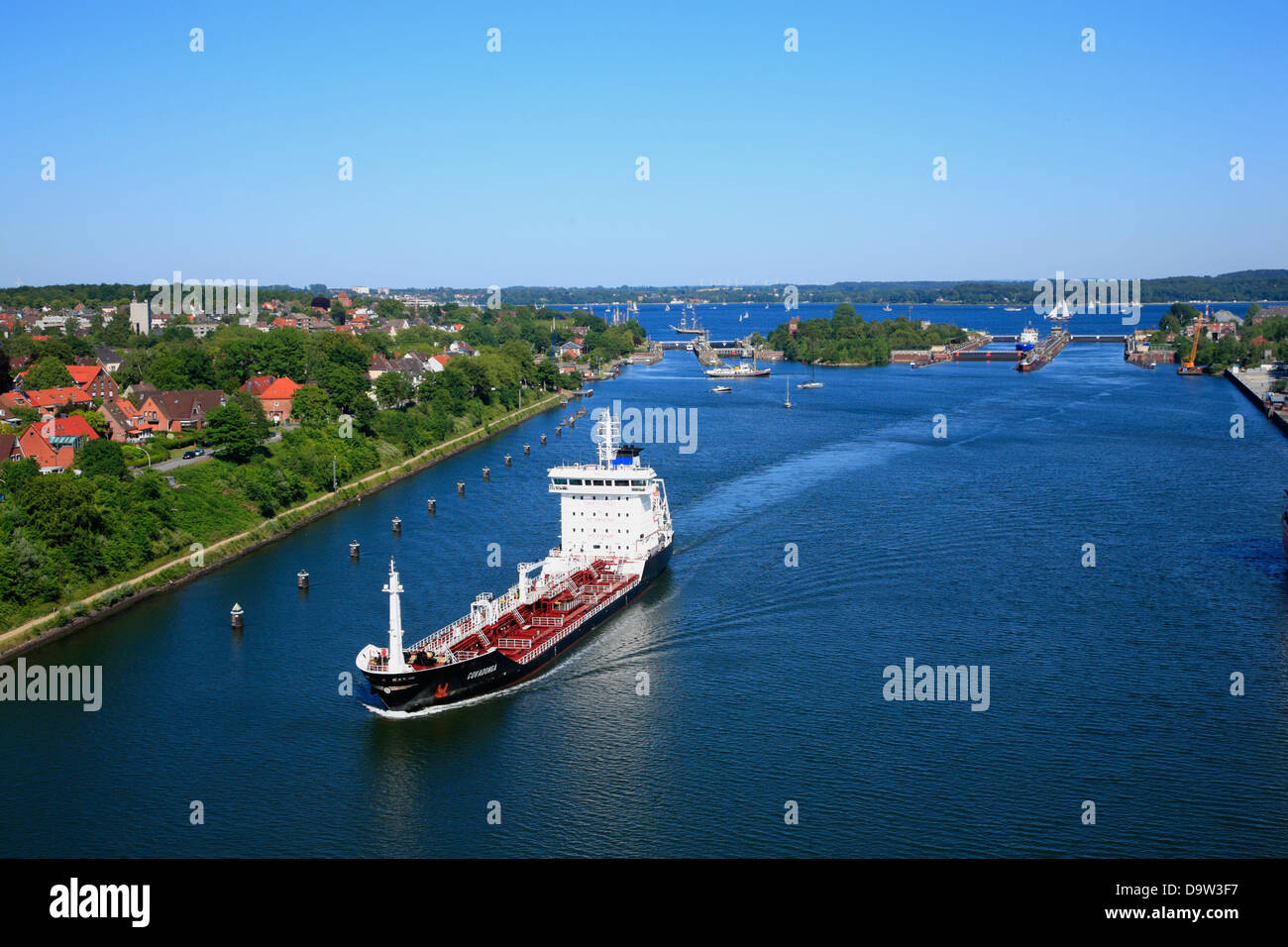 Kiel Canal at Kiel-Holtenau Lock, Kiel, Schleswig-Holstein, Germany, Europe - Stock Image