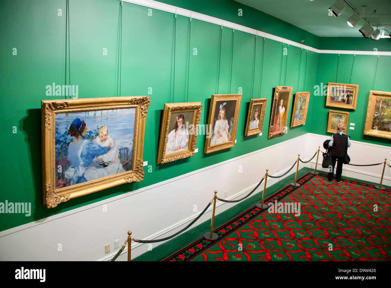 Michigan, Mackinac Island. American impressionist portrait art collection inside the historic landmark Grand Hotel, - Stock Image