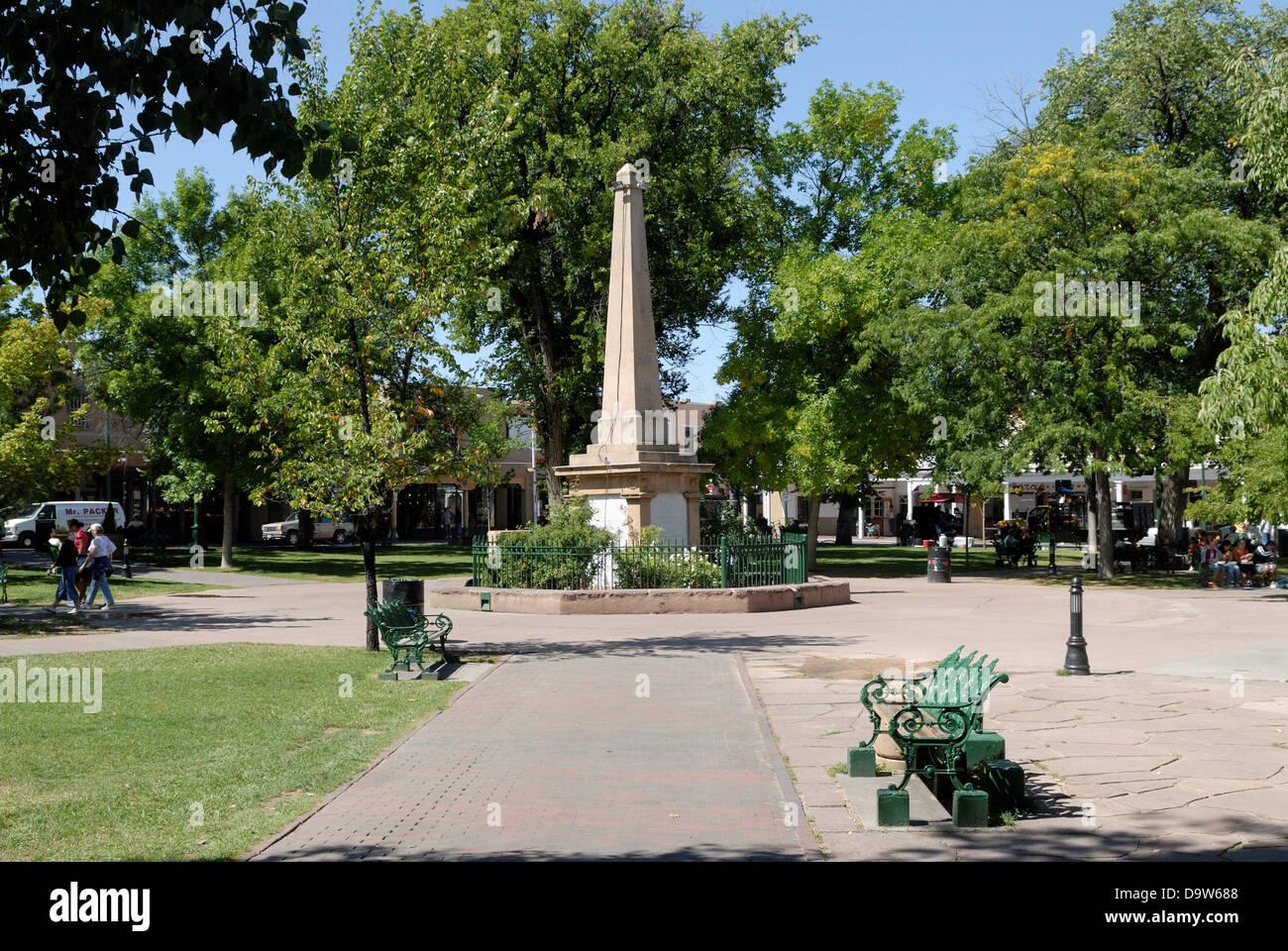 Obelisk In A Park Santa Fe Plaza Santa Fe New Mexico Usa Stock Photo Alamy