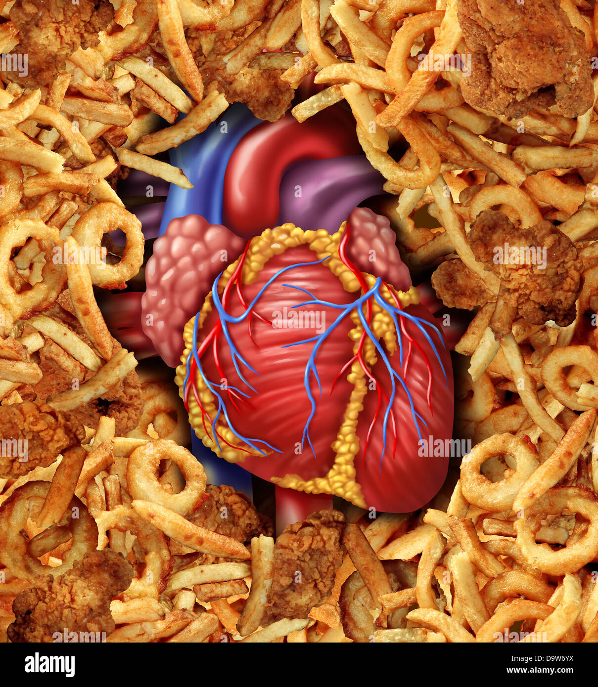 Heart disease food medical health care concept with a human heart organ surrounded by groups of greasy cholesterol - Stock Image