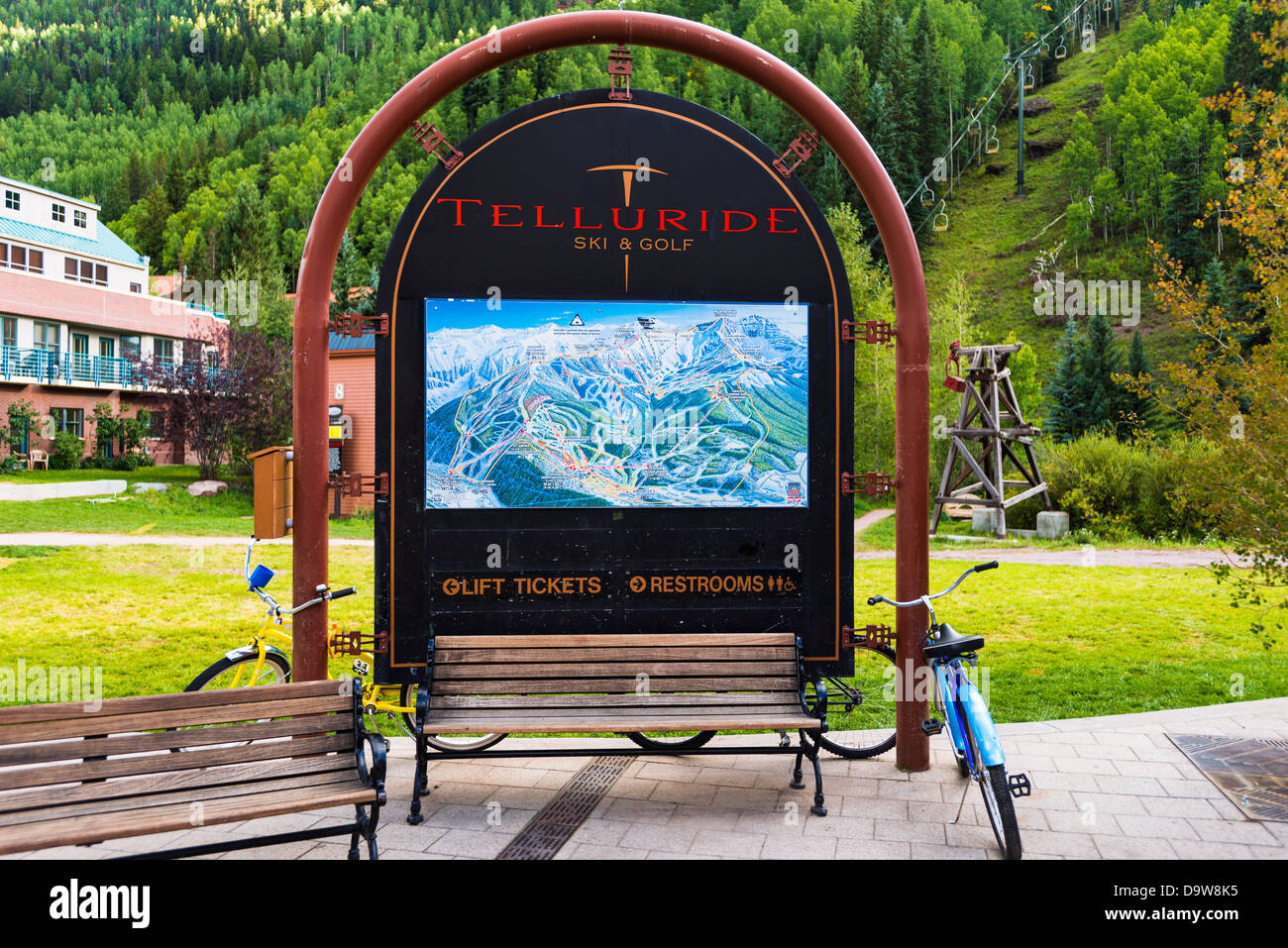 Ski resort trail map and chairlift, Telluride, Colorado USA ...