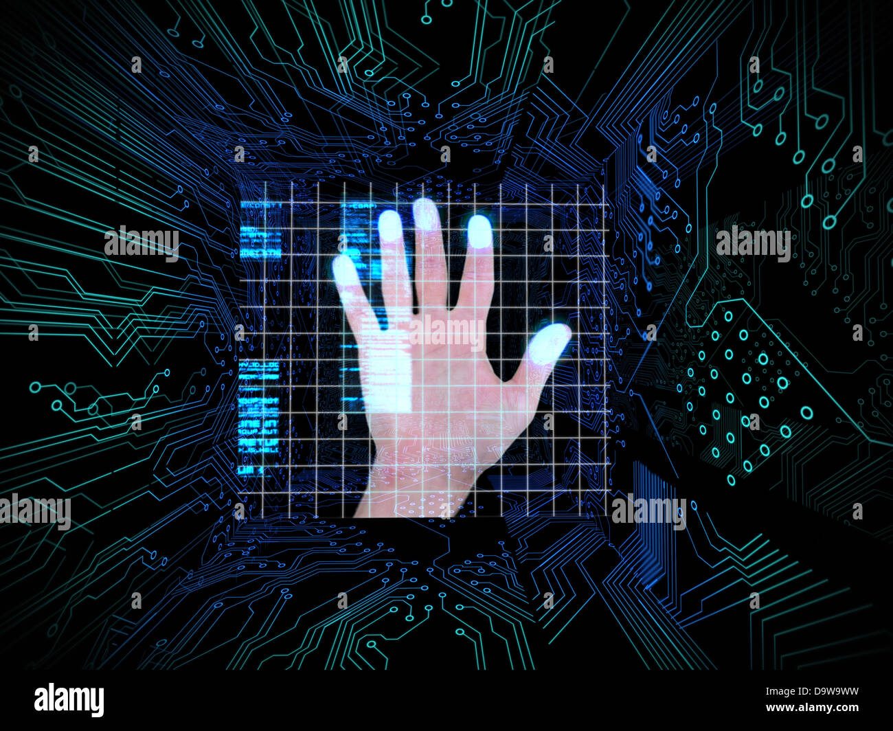 Print Hand Circuit Board Stock Photos Palm In The Middle Of Image