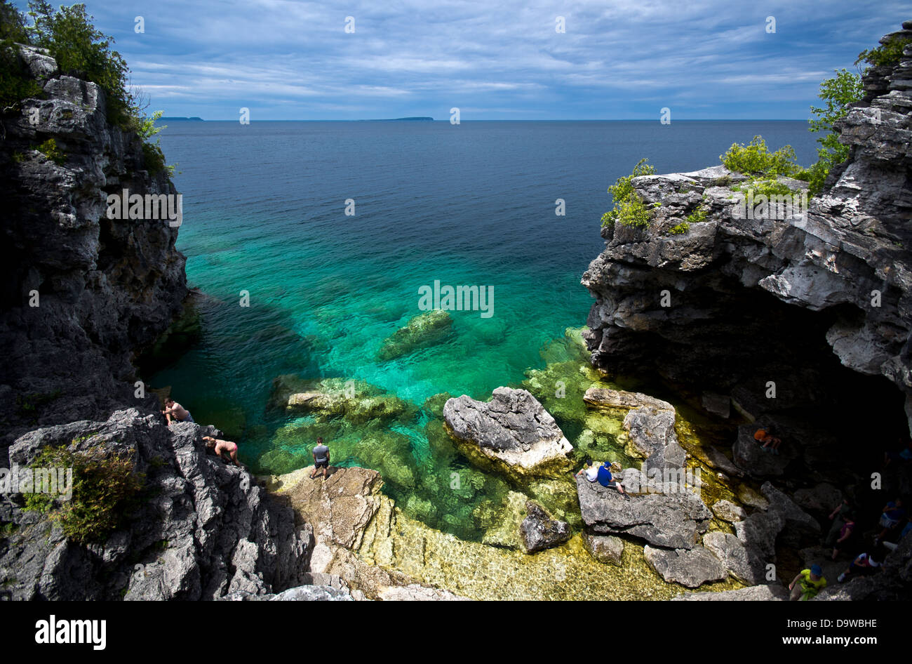Looking down at the Grotto in Bruce Peninsula National ...