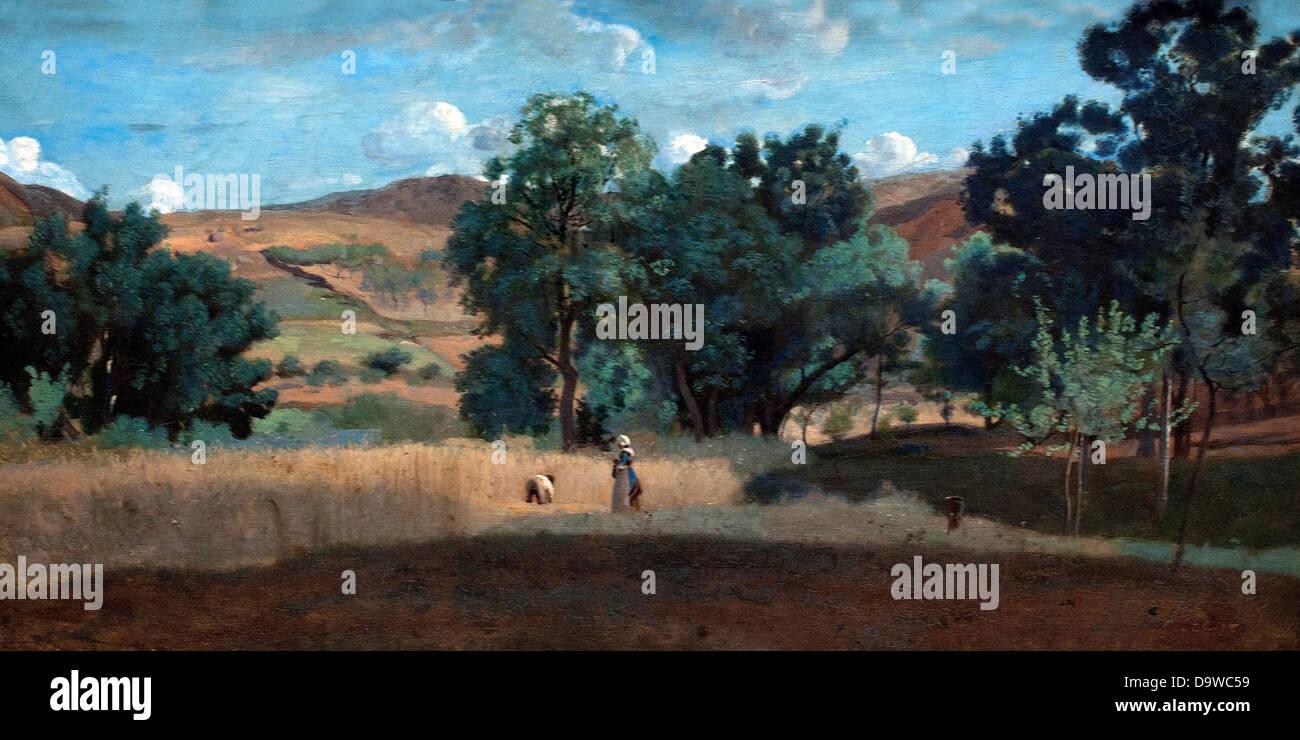 Champ de ble dans le Morvan - Wheat field in the Morvan 1842 Jean Baptiste Camille Corot 1796-1875  France - Stock Image