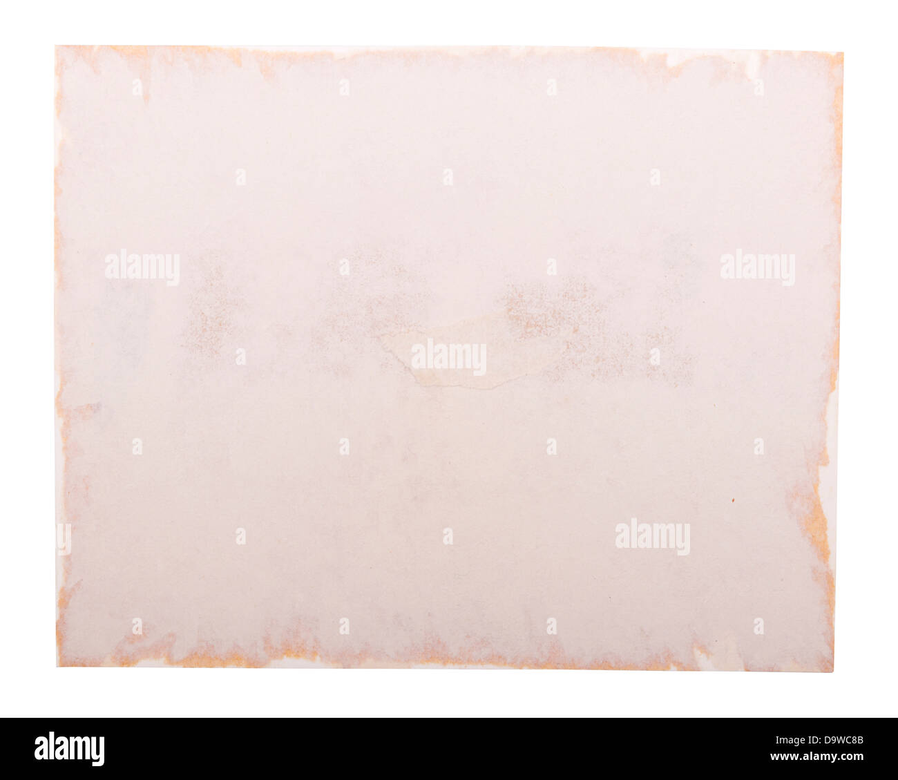 Old photo paper edge as a photo frame, isolated on white - Stock Image