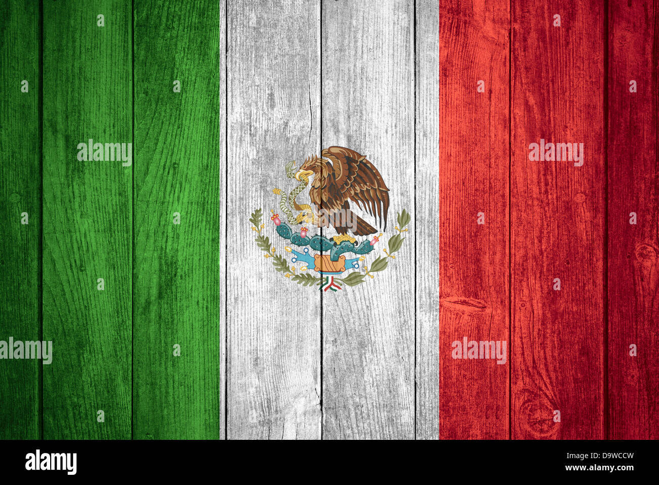 flag of Mexico or green, white and red Mexican banner on wooden background - Stock Image