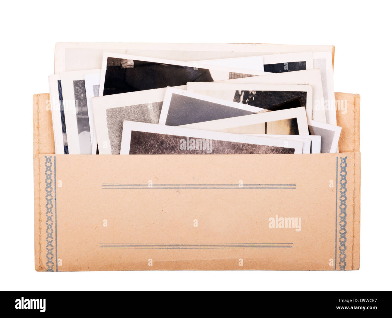 Old black and white photos in a vintage photo wallet isolated on white - Stock Image