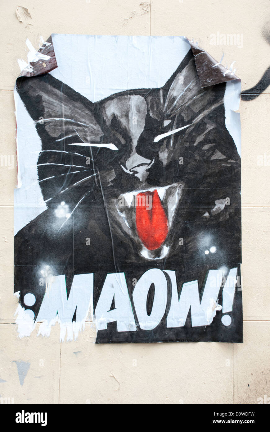Graffiti collage art on a wall off rue foyatier paris depicting a black cat saying maow