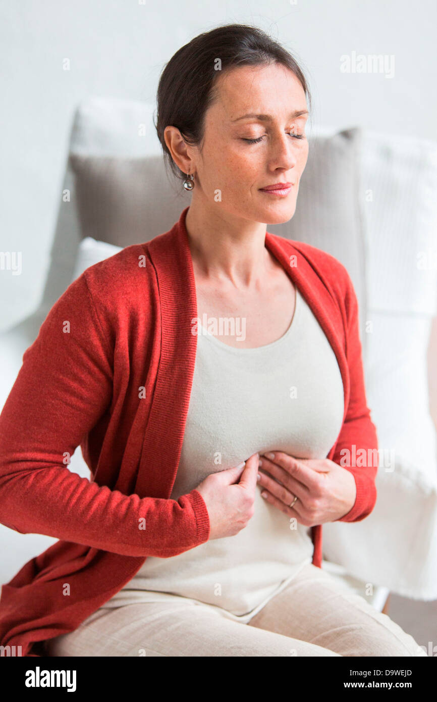Coeliac plexus massage - Stock Image