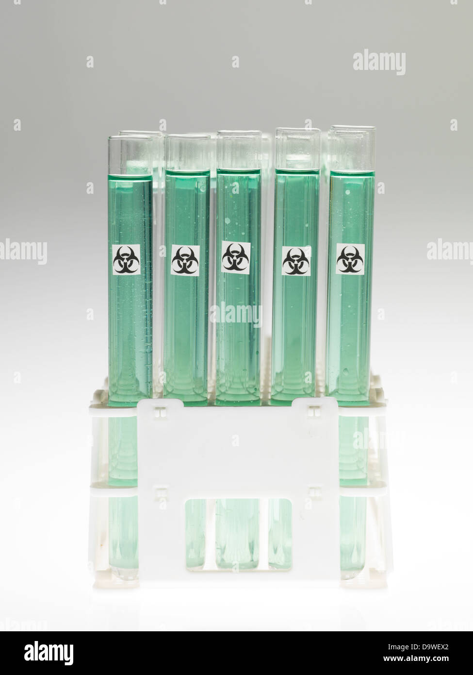 front view of experimental test tubes filled with transparent green substance and marked as bio hazardous, against Stock Photo