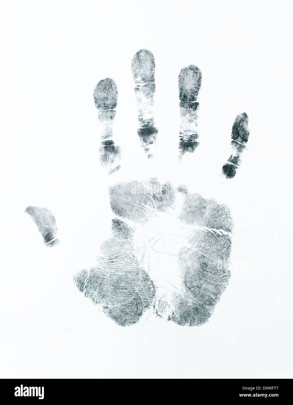 image of a right palm print on a white sheet - Stock Image