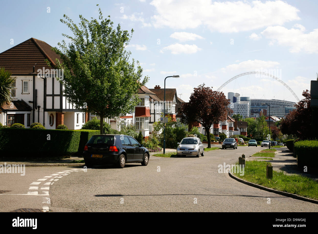 Distant view of Wembley Stadium from Barn Rise from the Barn Hill area of Wembley Park, London, UK - Stock Image