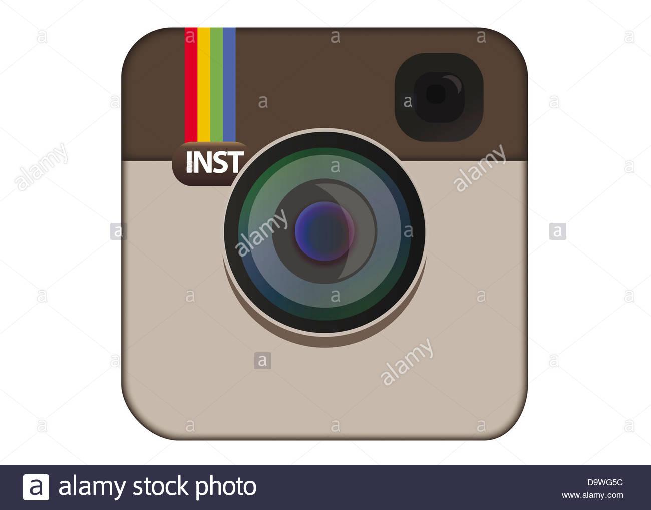 Instagram logo symbol icon flag - Stock Image