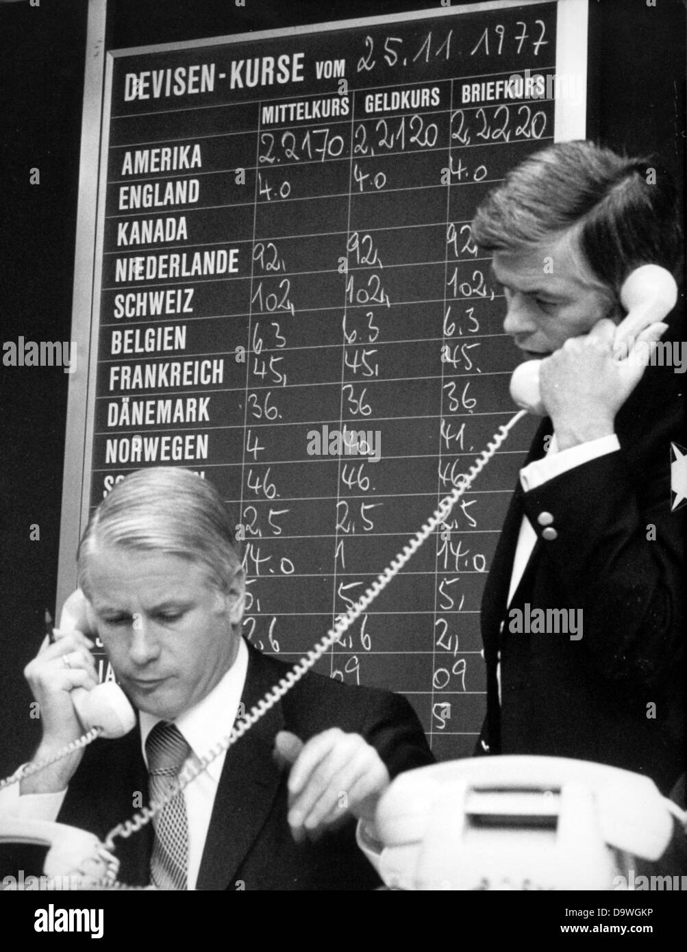 The exchange rates at the stock market of Frankfurt on the 25th of November in 1977. Stock Photo