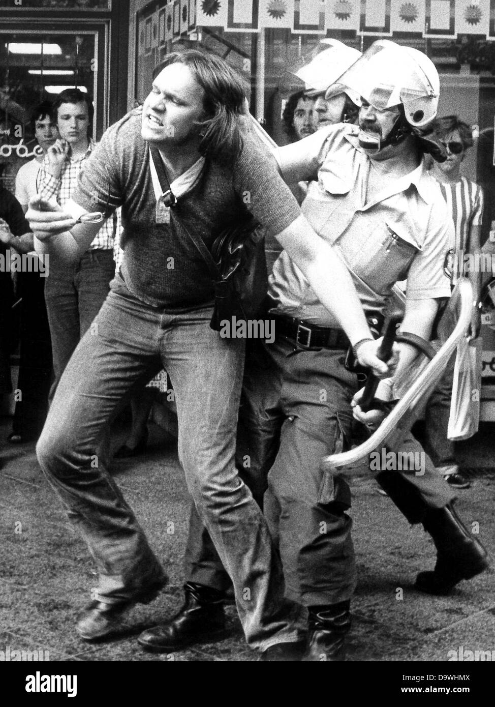 """Demonstrators and police have one of the """"most brutal conflicts"""" in the last years on the 10th of May in 1976 in Stock Photo"""