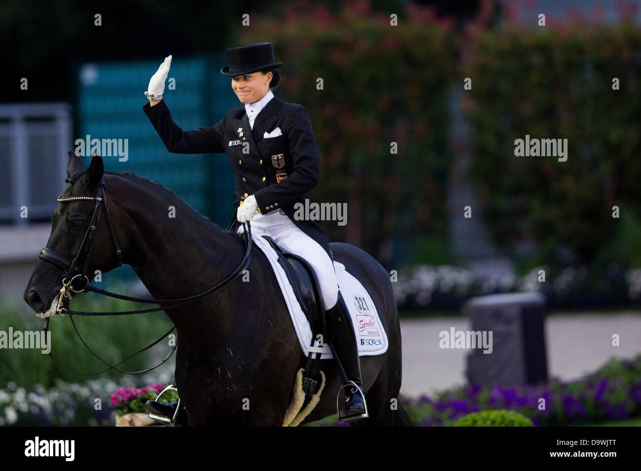 German Dressage Rider Kristina Sprehe Rides Her Horse Desperados In Stock Photo Alamy