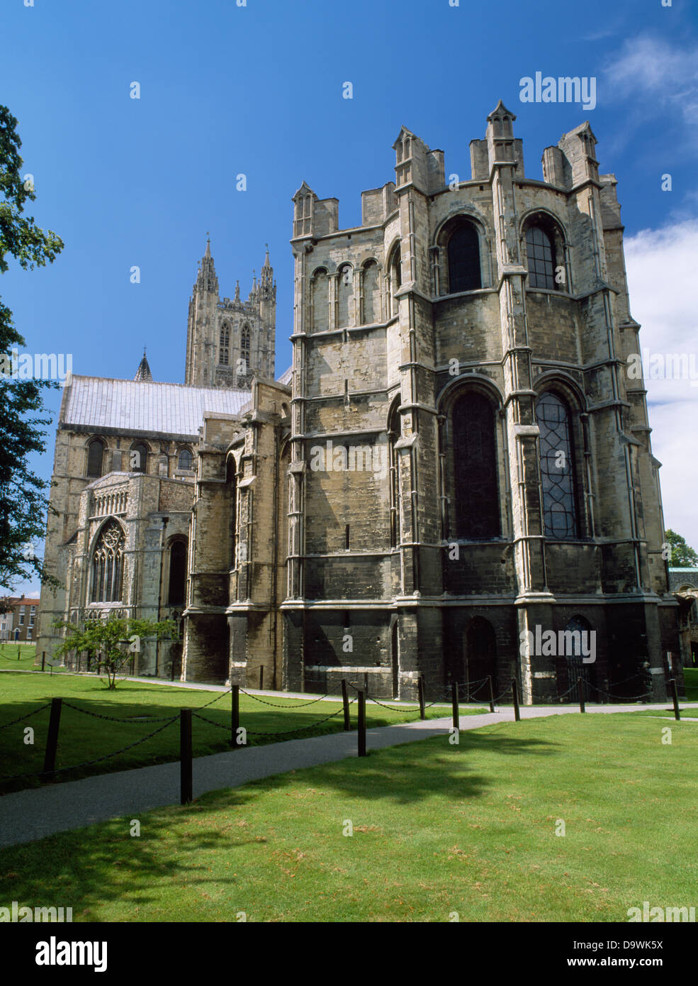 C13th Corona Chapel built on to Trinity Chapel at E end of Canterbury Cathedral, Kent, to enshrine the severed crown - Stock Image