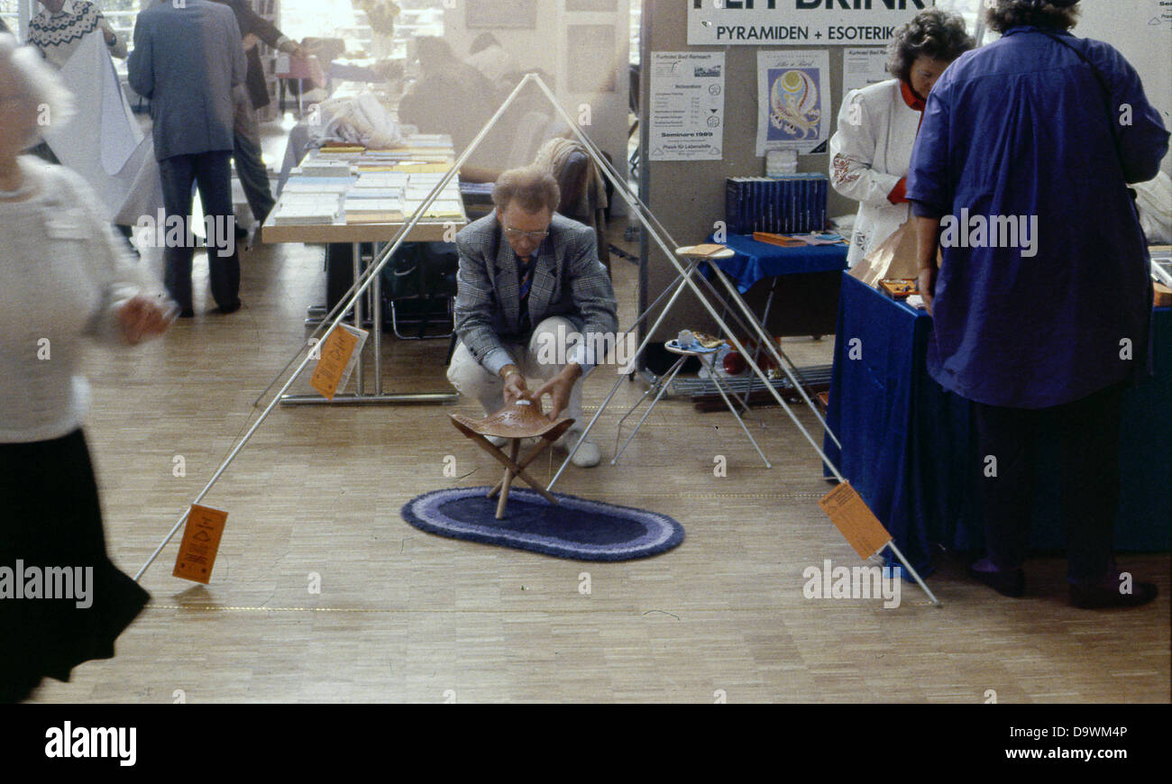 The scene with the famous occult fair in Basel Switzerland - Basel PSI days - in 1989. year. Archival photographs. - Stock Image