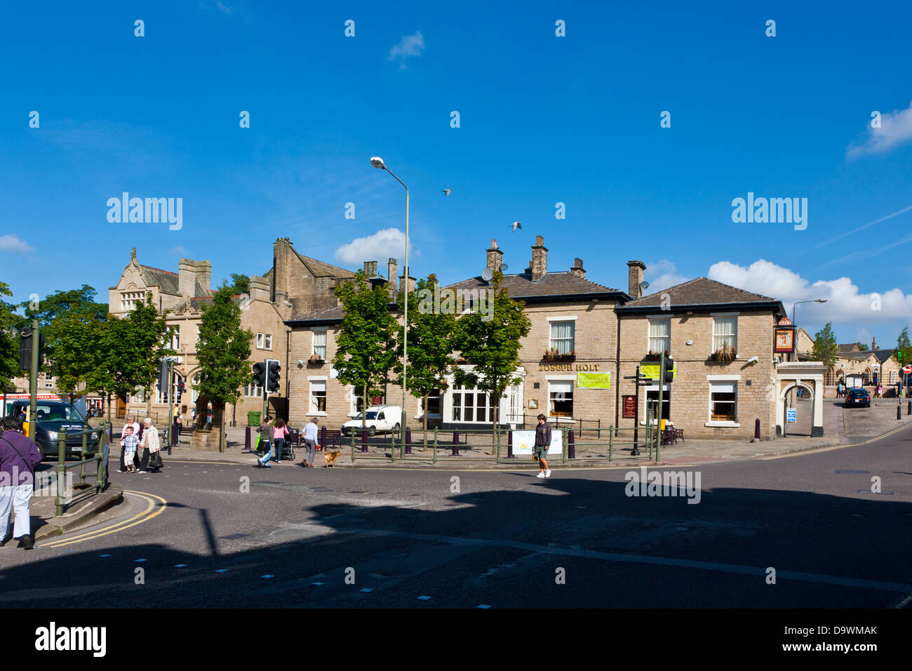 Road Junction in the centre of Glossop;Derbyshire; - Stock Image