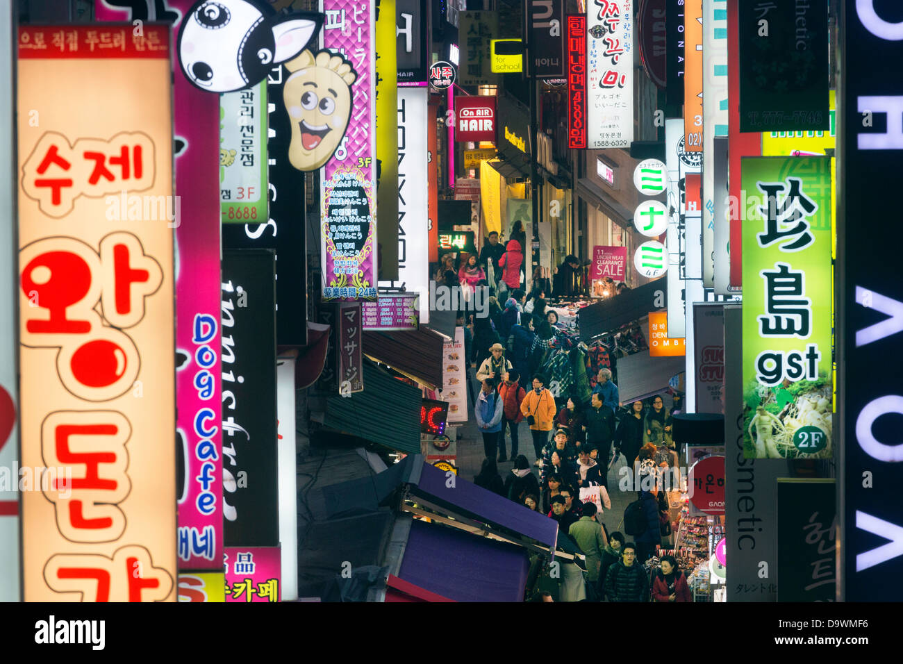 Neon lights in the restaurant and entertainment district of Myeong-dong, Seoul, South Korea, Asia - Stock Image