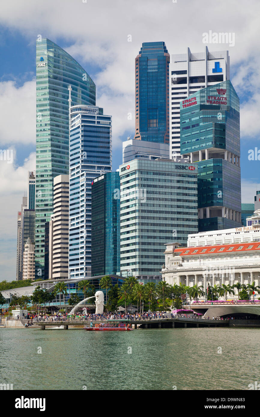 Southeast Asia, Singapore, Elevated view over the City Centre and Marina Bay - Stock Image